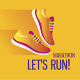 Jogging and running marathon concept flat icon. Modern icon illustrations in flat style Royalty Free Stock Photo