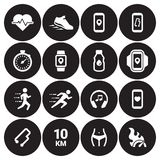 Jogging, running people icons set. White on a black background Royalty Free Stock Images