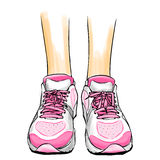 Jogging running shoes, sneakers. Illustration with slim female legs in pink running shoes. Jogging shoes drawing in comics style. Vector color type image with royalty free illustration