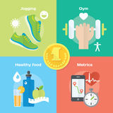 Jogging and running winner concept flat icons of gym, healthy food, metrics. Stock Photo
