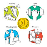 Jogging and running winner concept handdrawn icons of gym, healthy food, metrics. Royalty Free Stock Photo