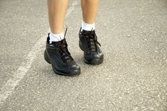 Jogging shoes. Jumping shoes royalty free stock image