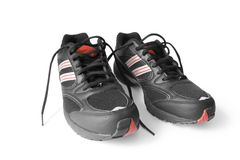 Jogging shoes. Black jogging shoes isolated on white (contains clipping path Royalty Free Stock Image