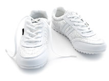 Jogging shoes. Pair of running shoes over the white background Stock Photo