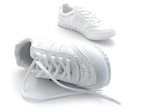 Jogging shoes. Pair of running shoes over the white background Royalty Free Stock Photography