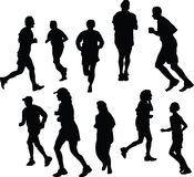 Jogging silhouettes Stock Image