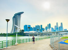 Jogging in Singapore  downtown Royalty Free Stock Photo