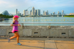 Jogging Singapore at sunset Stock Photo