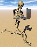 Jogging skeleton with laptop. Jogging3D  skeleton with laptop computer in desert environment Royalty Free Stock Photos