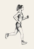 Jogging. Sketch illustration of a female figure jogging Royalty Free Stock Images