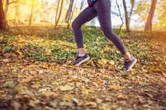 Jogging sport fitness woman. Close up of female legs and shoes stock images