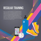 Jogging sport gym background about regular. Modern vector icons and illustrations in flat style with place for text stock illustration