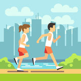 Jogging sport people, athletic running man and woman. vector healthcare concept. Man and woman running on path in park, illustration of people running Royalty Free Stock Photo