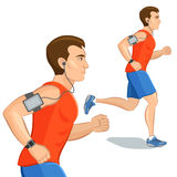 Jogging sporty man, loss weight cardio training with smart devic Royalty Free Stock Photography