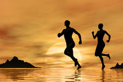 Jogging at sunrise Stock Images