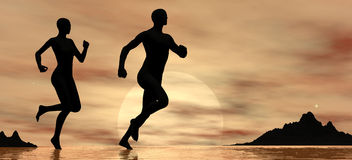 Jogging at sunrise Royalty Free Stock Image