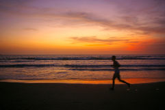 Jogging at Sunset Stock Images