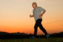 Jogging in the sunset Royalty Free Stock Photo
