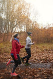 Jogging time during the autumn royalty free stock image
