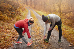 Jogging time during the autumn royalty free stock photography