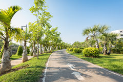 Jogging track at the garden park and no people Royalty Free Stock Photos