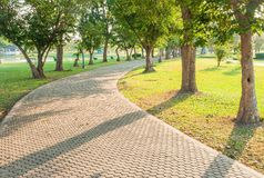 Jogging track at green garden Royalty Free Stock Photos