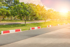 Jogging track and traffic signal line to know do not entry  the Royalty Free Stock Image
