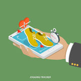 Jogging tracker flat isometric concept. stock illustration