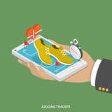 Jogging tracker flat isometric concept. Royalty Free Stock Photo