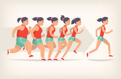 Jogging traing process. Running girl is loosing weight in process of jogging. Stages of loosing weight. Great results in sports. Vector illustration for gym Royalty Free Stock Image
