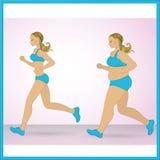 Jogging van het beeldverhaal de vette meisje Royalty-vrije Stock Afbeelding