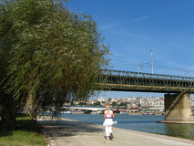 Jogging in the Wind. River Sava, Belgrade, Serbia Royalty Free Stock Image