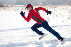 Jogging in winter Stock Photography