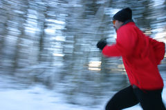 Jogging in winterforest Stock Photos