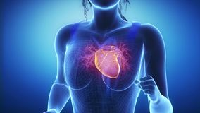 Jogging woman with heart scan in slow motion zoom stock video footage