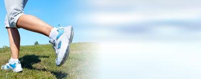 Jogging woman legs royalty free stock image