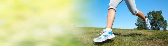 Jogging woman legs stock photo