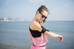 Jogging by woman Stock Photography