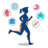 Jogging woman,running infographic elements, loss weight Royalty Free Stock Image