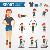 Jogging woman, sport and exercises infographic elements. Girl engaged in fitness, aerobics, goes to the gym on. Simulators. Swing press, dumbbells, skipping Stock Photography