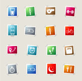 Jogging and workout simply icons. Jogging and workout icons set for web sites and user interface Stock Image