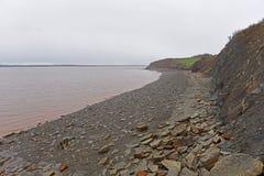 Joggins Fossil Cliffs, Nova Scotia, Canada. Joggins Fossil Cliffs is a UNESCO Natural World Heritage Site since 2008, Nova Scotia, Canada. The cliffs is famous stock photography