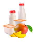 Joghurt in den unterschiedlichen Kästen und in der Mangofrucht Stockfotografie
