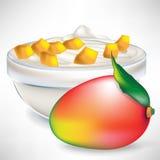 Joghurt in der Schüssel mit Mangofruchtscheiben und -frucht Lizenzfreie Stockbilder
