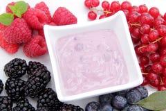 Joghurt mit Beeren auf einem weißen Hintergrund lizenzfreie stockfotos