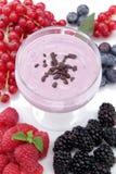 Joghurt mit Beeren auf einem weißen Hintergrund lizenzfreies stockbild