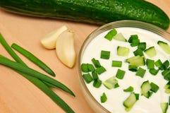 Joghurt mit der Gurke Lizenzfreies Stockfoto