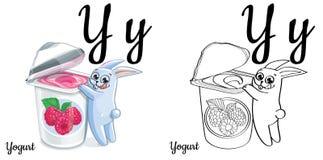 joghurt Vektoralphabetypsilon, Färbungsseite Lizenzfreies Stockbild