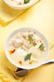Joghurthuhn und Reissuppe Stockfotos