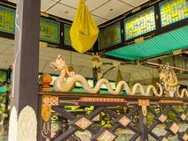 JOGJA,印度尼西亚- 2O17 8月12, :一龙extructure的室内看法在一个大厦里面的在塔曼莎丽服水宫殿 免版税库存图片